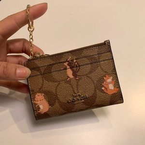 COACH Mini ID Case Card Key Party Animal Wallet